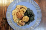 Pan Seared Scallops with Israeli Cous Cous and Braised Kale
