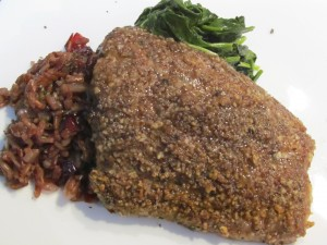 Pecan Crusted Trout with Cranberry Rice and Sauteed Spinach